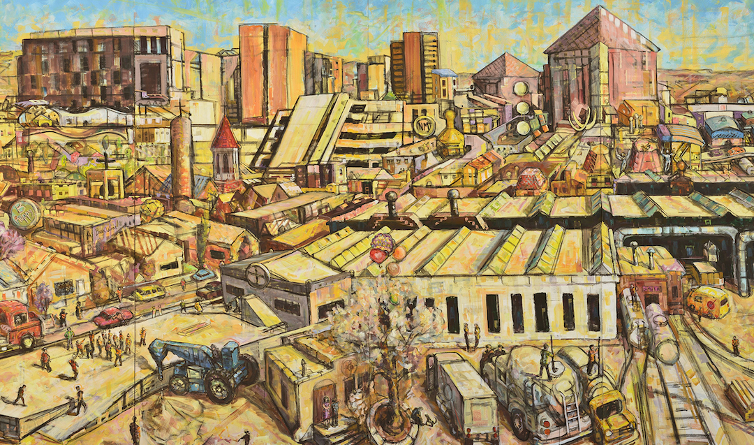 mural of city scene in desert hue