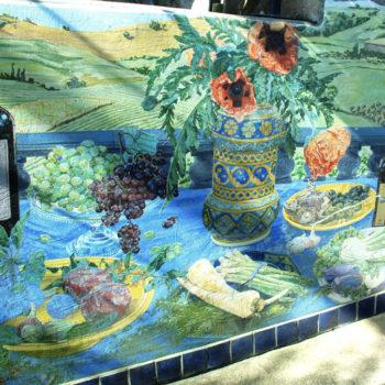 still life mural painting