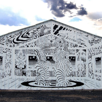 black and white line mural of spirit room