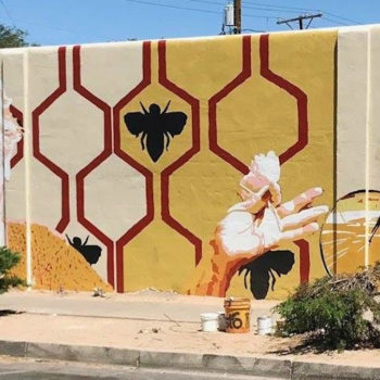 mural of honey bee geometry