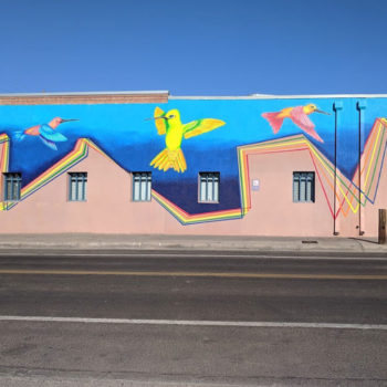 mural of bird dance over house design