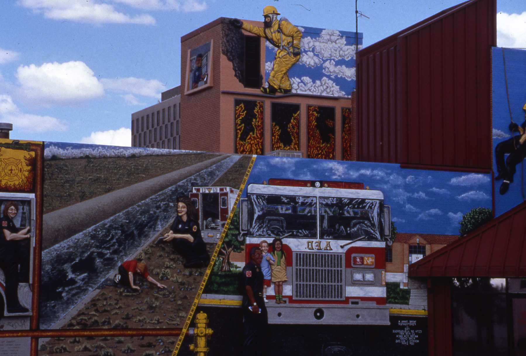firefighter scene painted on wall
