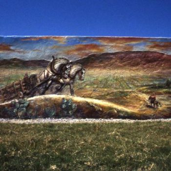 epic scene of horse pulling carriage in desolate landscape mural on wall