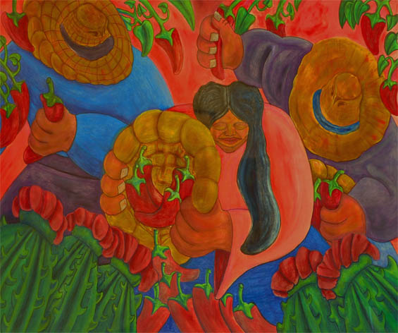 Mexican style painting of chili harvest