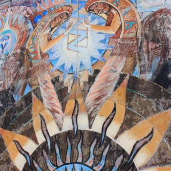 kokopeli sundance mural painting on wall