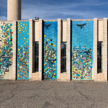 mural of flying bird pixels