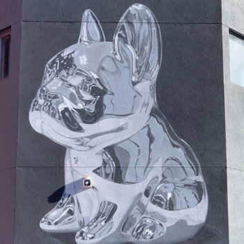 mural of French Bulldog in Chrome