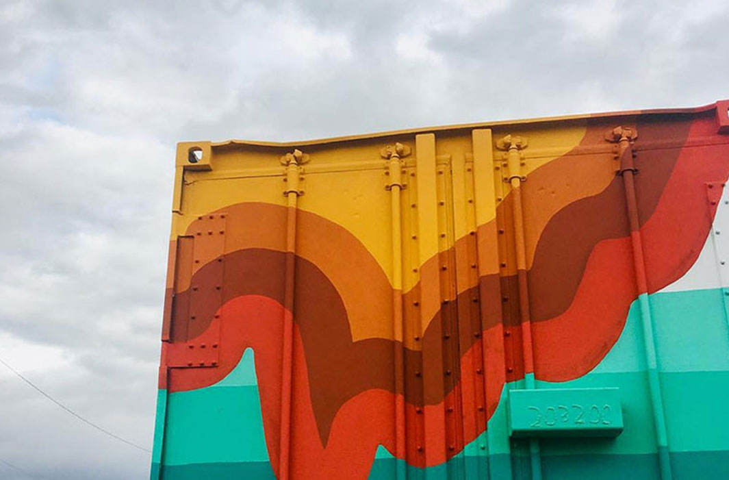 puffed line mural and sky