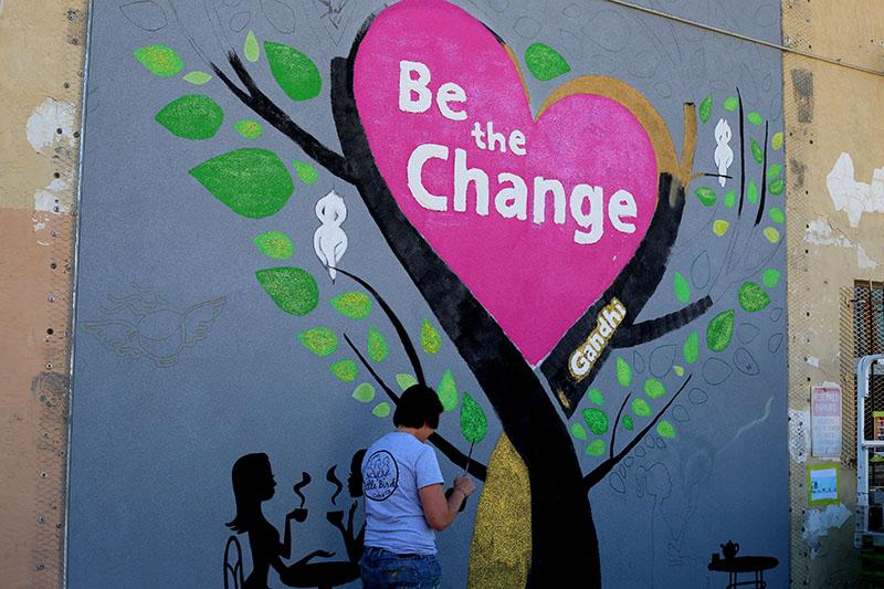 mural of heart tree