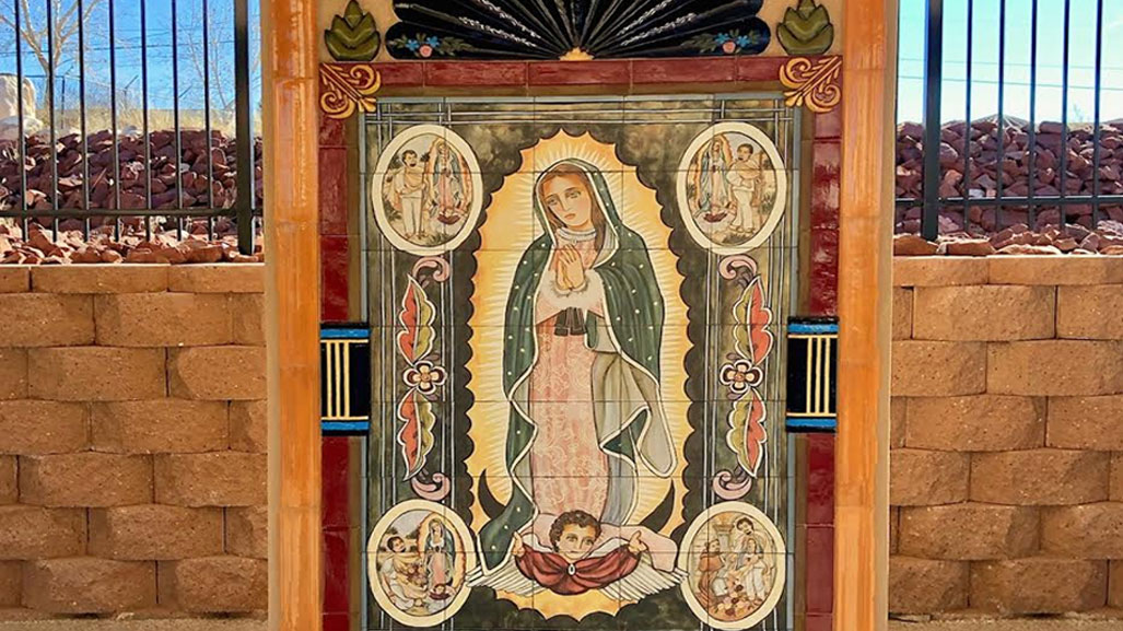 mural of Our Lady in ceramic tiles